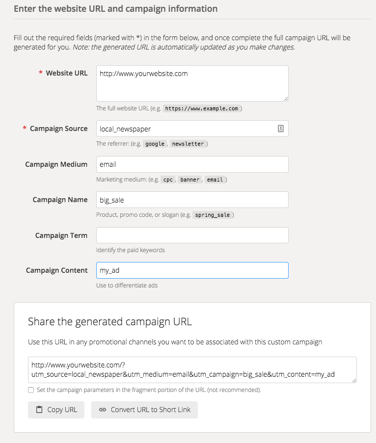 Google Campaign URL Builder - UTM parameters