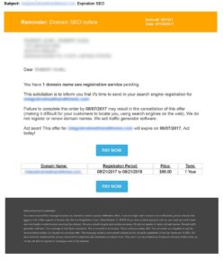 Spammy Domain Name Email