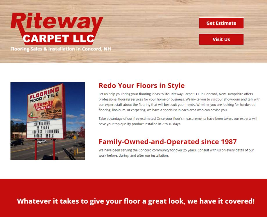 Screenshot of Riteway Carpet Website